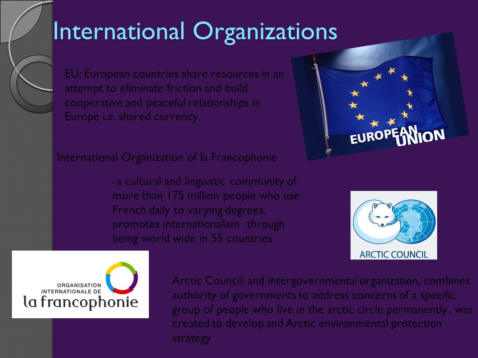 International Organizations EU: European countries share resources in an attempt to eliminate friction and build cooperative and peaceful relationships in Europe i.e.