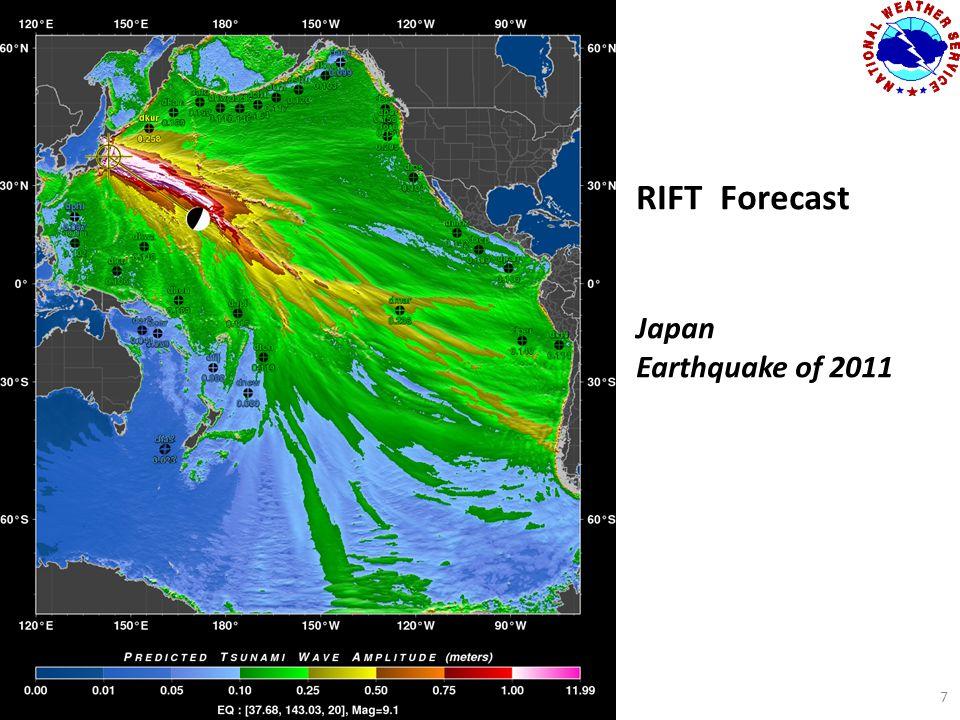 RIFT Forecast Japan Earthquake of 2011 7