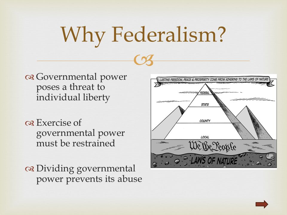   Governmental power poses a threat to individual liberty  Exercise of governmental power must be restrained  Dividing governmental power prevents