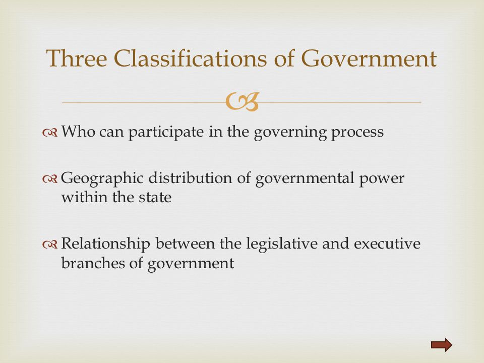   Who can participate in the governing process  Geographic distribution of governmental power within the state  Relationship between the legislati