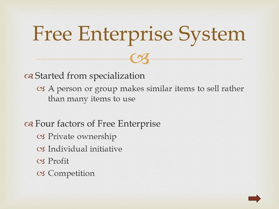   Started from specialization  A person or group makes similar items to sell rather than many items to use  Four factors of Free Enterprise  Priv