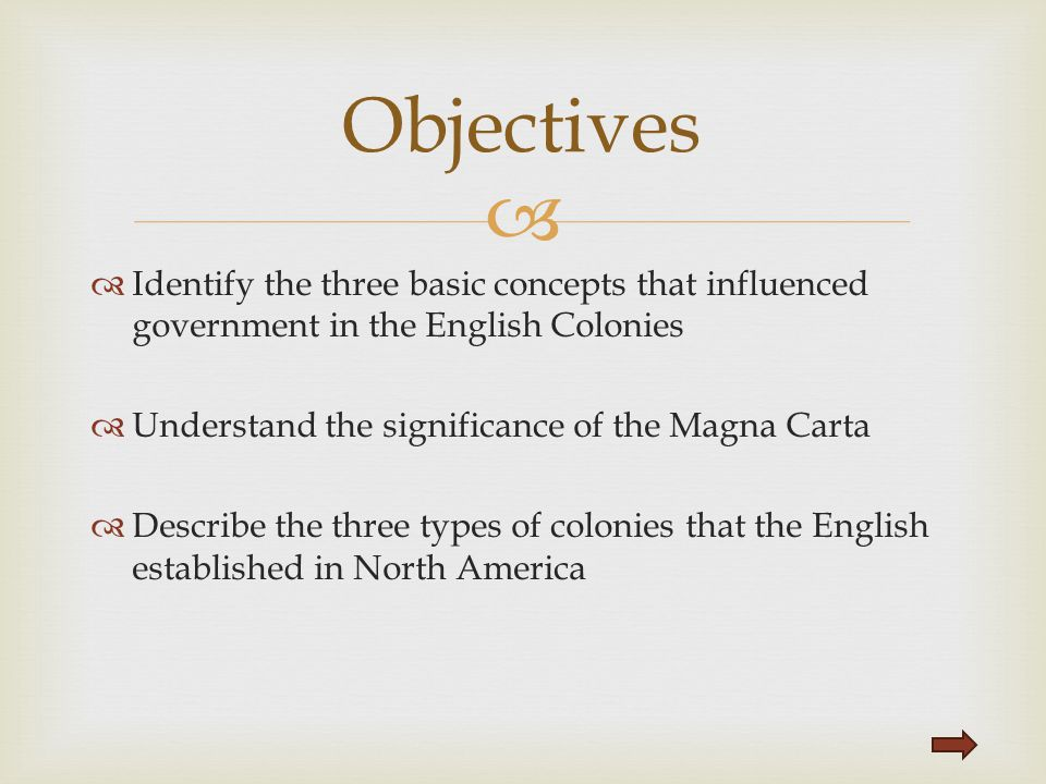   Identify the three basic concepts that influenced government in the English Colonies  Understand the significance of the Magna Carta  Describe t