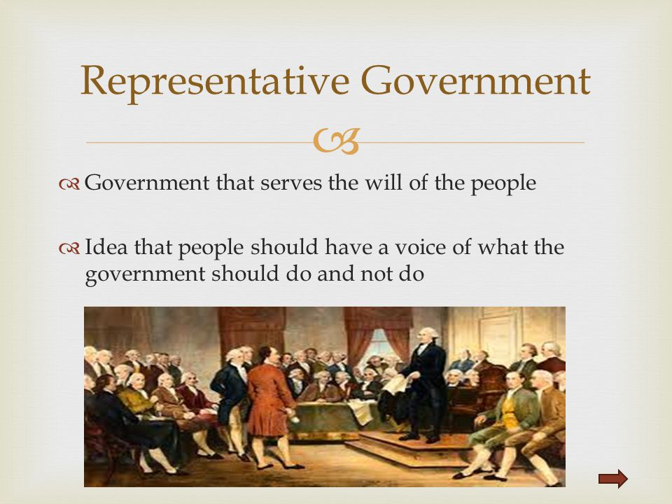   Government that serves the will of the people  Idea that people should have a voice of what the government should do and not do Representative Go