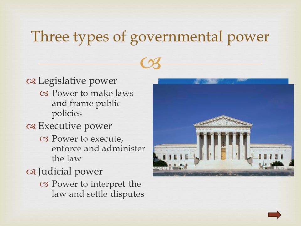   Legislative power  Power to make laws and frame public policies  Executive power  Power to execute, enforce and administer the law  Judicial p
