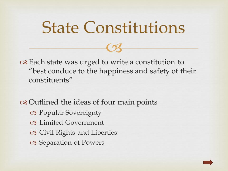 "  Each state was urged to write a constitution to ""best conduce to the happiness and safety of their constituents""  Outlined the ideas of four main"