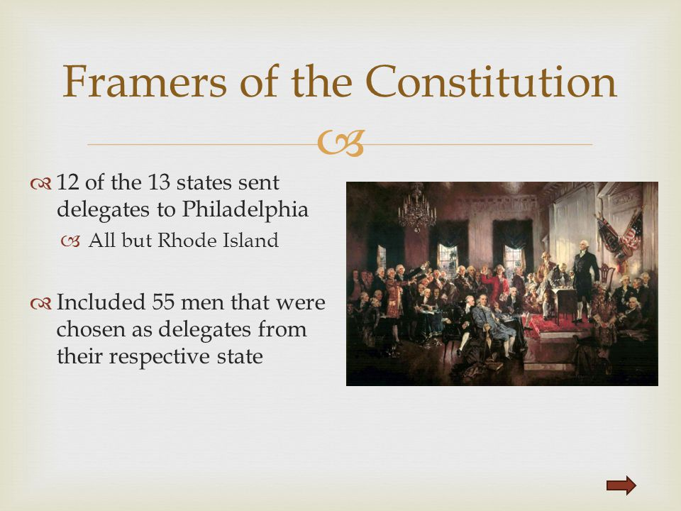   12 of the 13 states sent delegates to Philadelphia  All but Rhode Island  Included 55 men that were chosen as delegates from their respective st