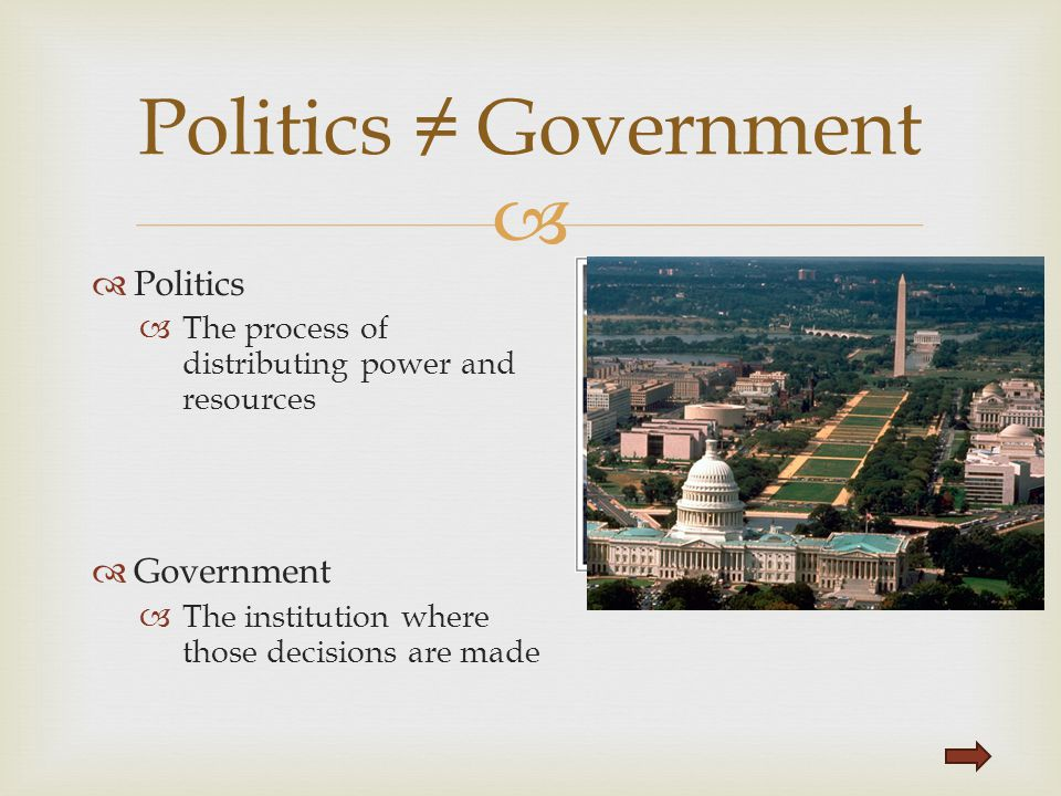   Politics  The process of distributing power and resources  Government  The institution where those decisions are made Politics ≠ Government