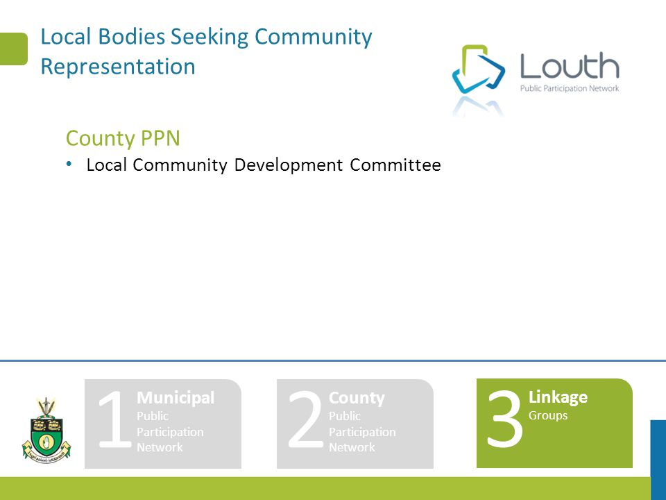Local Bodies Seeking Community Representation County PPN Local Community Development Committee 1 Municipal Public Participation Network 2 County Publi