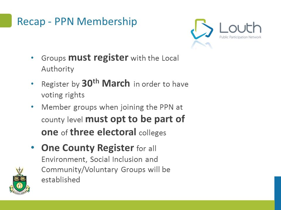 Recap - PPN Membership Groups must register with the Local Authority Register by 30 th March in order to have voting rights Member groups when joining the PPN at county level must opt to be part of one of three electoral colleges One County Register for all Environment, Social Inclusion and Community/Voluntary Groups will be established