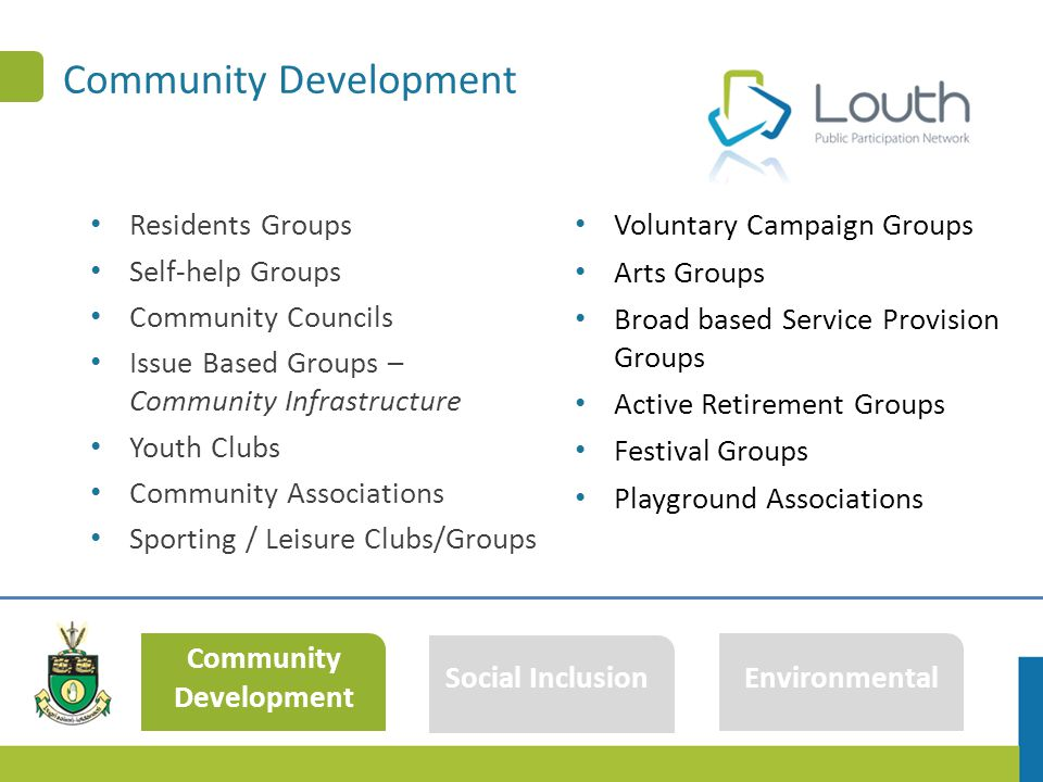 Community Development Residents Groups Self-help Groups Community Councils Issue Based Groups – Community Infrastructure Youth Clubs Community Associations Sporting / Leisure Clubs/Groups Community Development Social Inclusion Environmental Voluntary Campaign Groups Arts Groups Broad based Service Provision Groups Active Retirement Groups Festival Groups Playground Associations