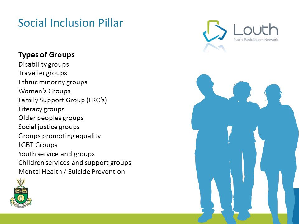 Social Inclusion Pillar Types of Groups Disability groups Traveller groups Ethnic minority groups Women's Groups Family Support Group (FRC's) Literacy groups Older peoples groups Social justice groups Groups promoting equality LGBT Groups Youth service and groups Children services and support groups Mental Health / Suicide Prevention