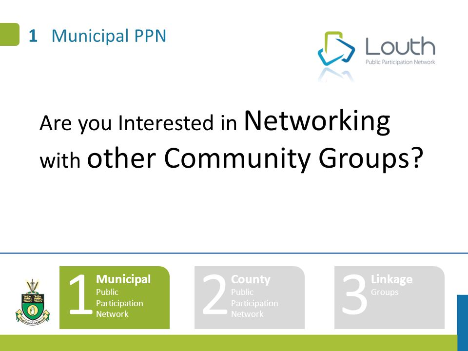 1 Municipal PPN 1 Municipal Public Participation Network 2 County Public Participation Network 3 Linkage Groups Are you Interested in Networking with other Community Groups
