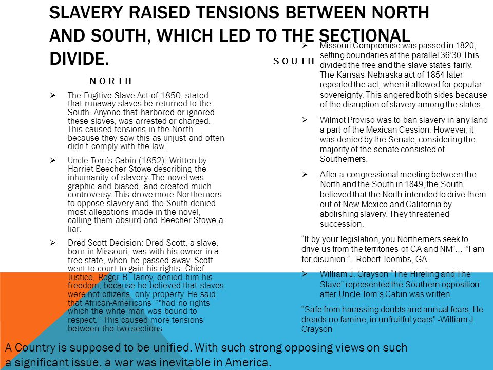 SLAVERY RAISED TENSIONS BETWEEN NORTH AND SOUTH, WHICH LED TO THE SECTIONAL DIVIDE. NORTH  The Fugitive Slave Act of 1850, stated that runaway slaves