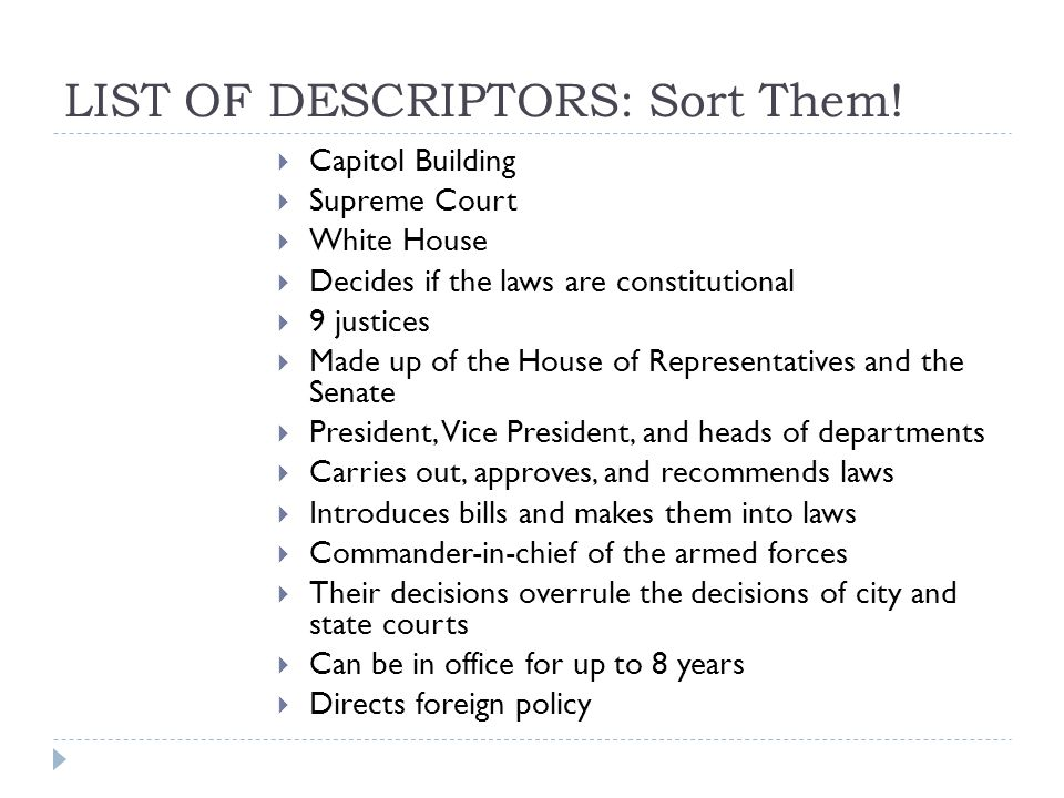 LIST OF DESCRIPTORS: Sort Them.