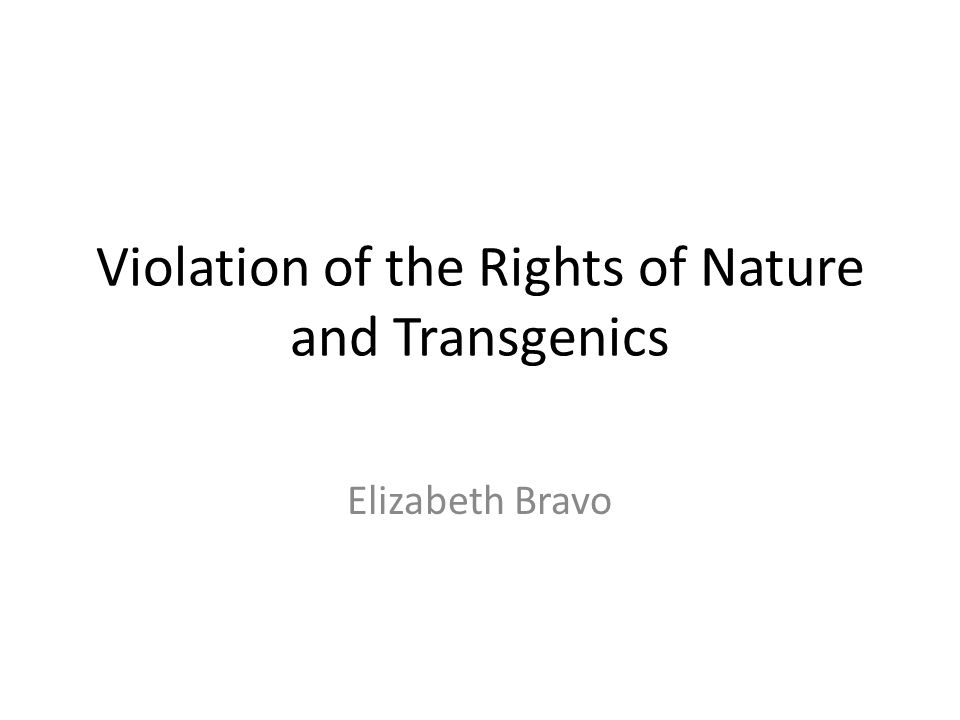 Violation of the Rights of Nature and Transgenics Elizabeth Bravo