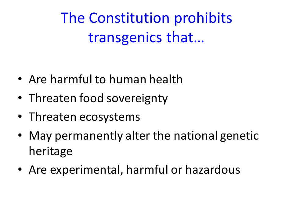 The Constitution prohibits transgenics that… Are harmful to human health Threaten food sovereignty Threaten ecosystems May permanently alter the national genetic heritage Are experimental, harmful or hazardous