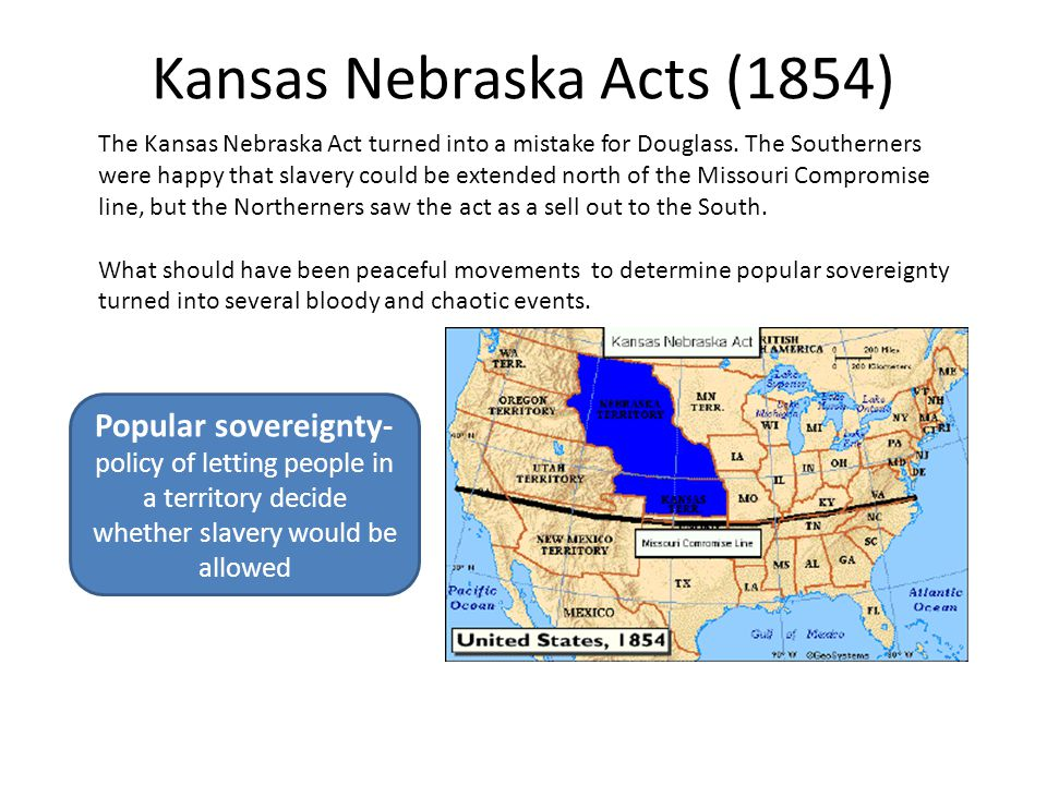 Kansas Nebraska Acts (1854) The Kansas Nebraska Act turned into a mistake for Douglass. The Southerners were happy that slavery could be extended nort