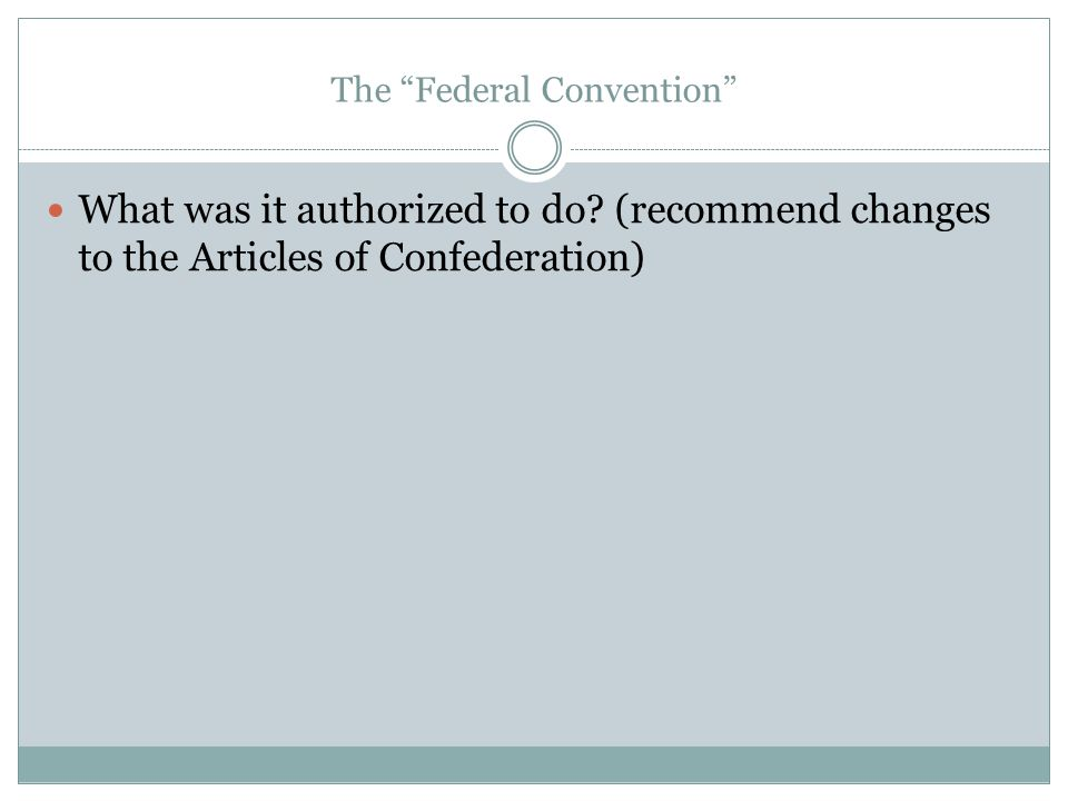 """The """"Federal Convention"""" What was it authorized to do? (recommend changes to the Articles of Confederation)"""