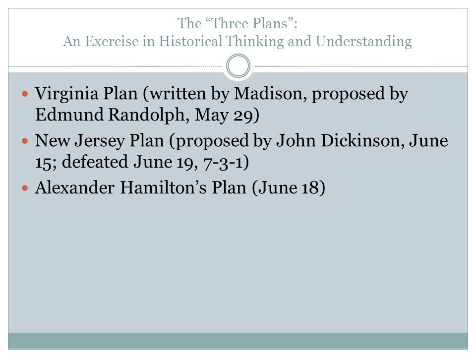 """The """"Three Plans"""": An Exercise in Historical Thinking and Understanding Virginia Plan (written by Madison, proposed by Edmund Randolph, May 29) New Je"""