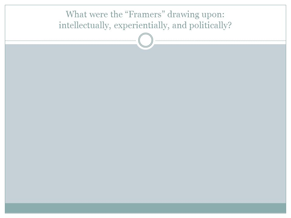 What were the Framers drawing upon: intellectually, experientially, and politically?