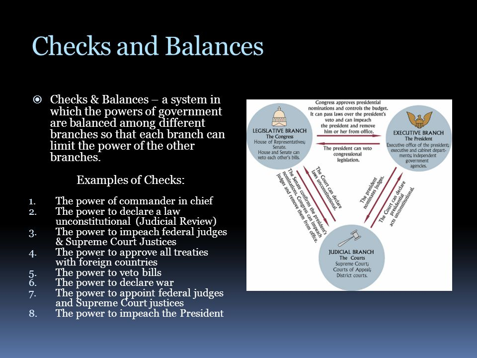 Checks and Balances  Checks & Balances – a system in which the powers of government are balanced among different branches so that each branch can lim