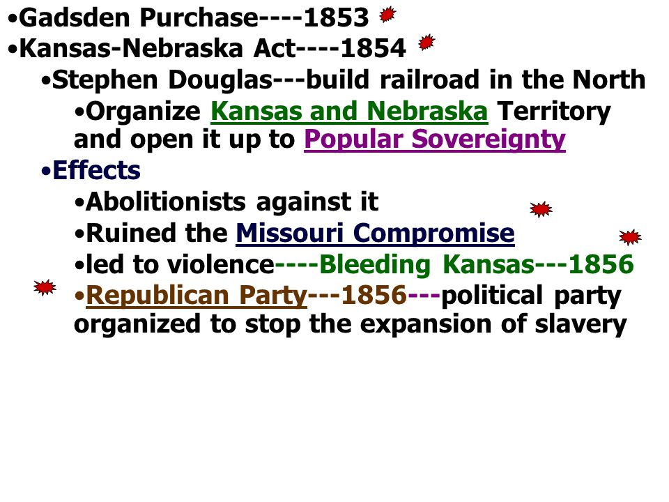 Effects of K-N Whigs were destroyed as northern ones helped form Republicans, joined Free- Soilers, or supported Nativists, and southern ones did nothing The Dems shattered in two w/northerners furious at expansion of slavery Compromise of 1850 nullified, along w/Missouri Compromise Kansas itself went pro-slavery with a corrupt Lecompton Constitution (pushed by Buchanan) even though slavery-free constitution passed in Topeka –Broke the Little Giant's heart and made him split w/Democrats due to pop.