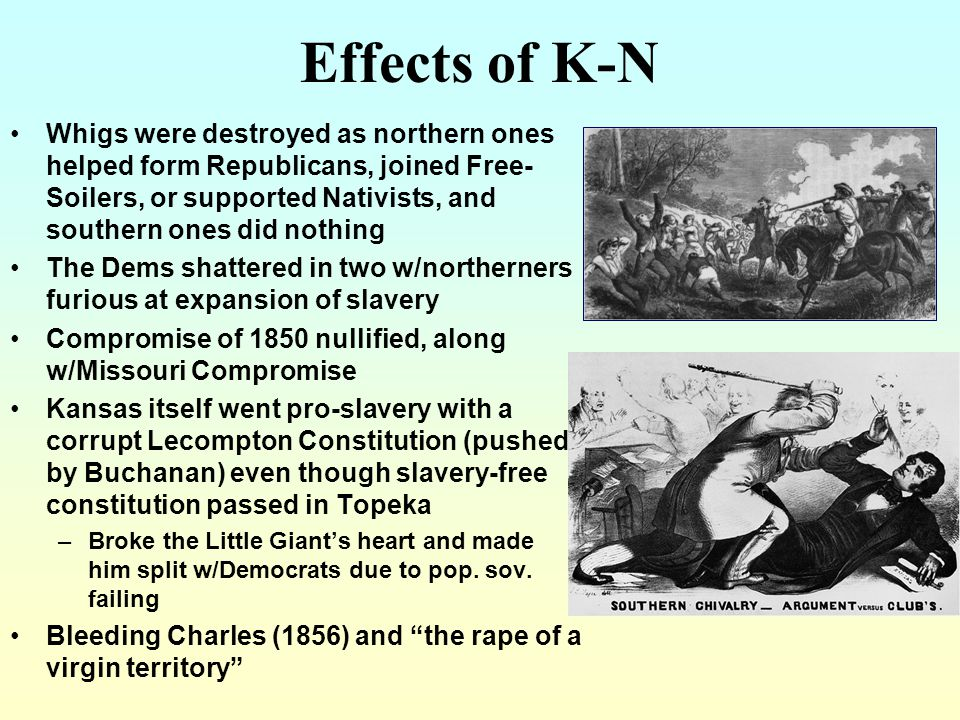 Bleeding Kan After the passage of the Kansas-Nebraska Act in 1854, the Kansas territory became a battleground. Pro-slavery and antislavery supporters