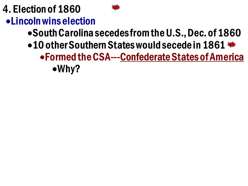 4.Election of 1860  Lincoln wins election  South Carolina secedes from the U.S., Dec.