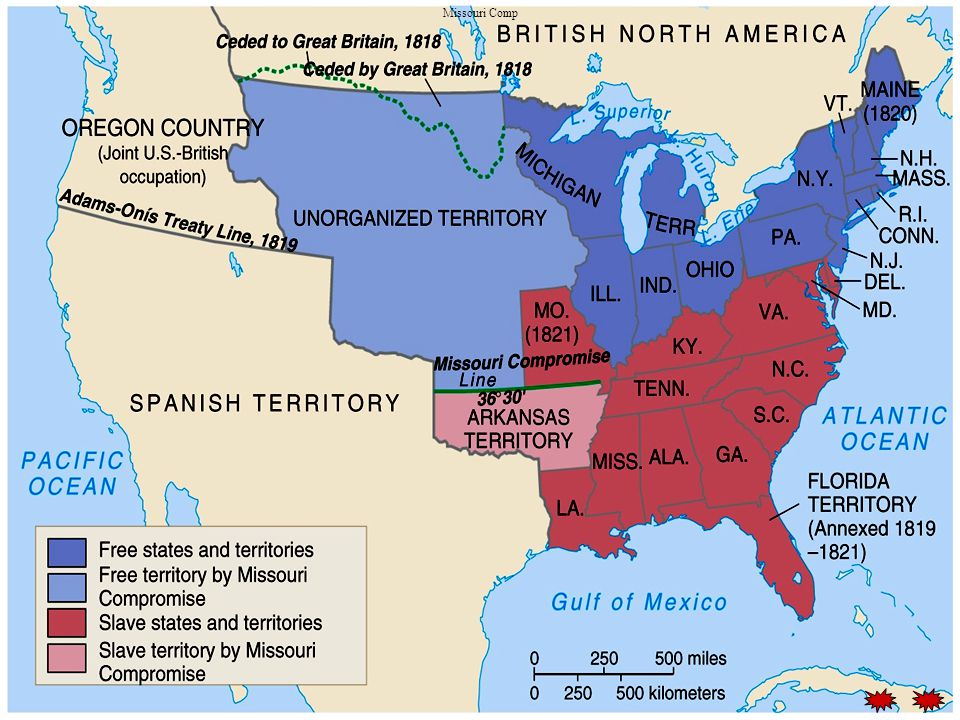 Oregon dispute Treaty with Great Britain in 1846 President Polk campaign slogan was 54,40 or fight… Compromised with British and divided the Oregon Country at the 49 th parallel The Oregon Territory