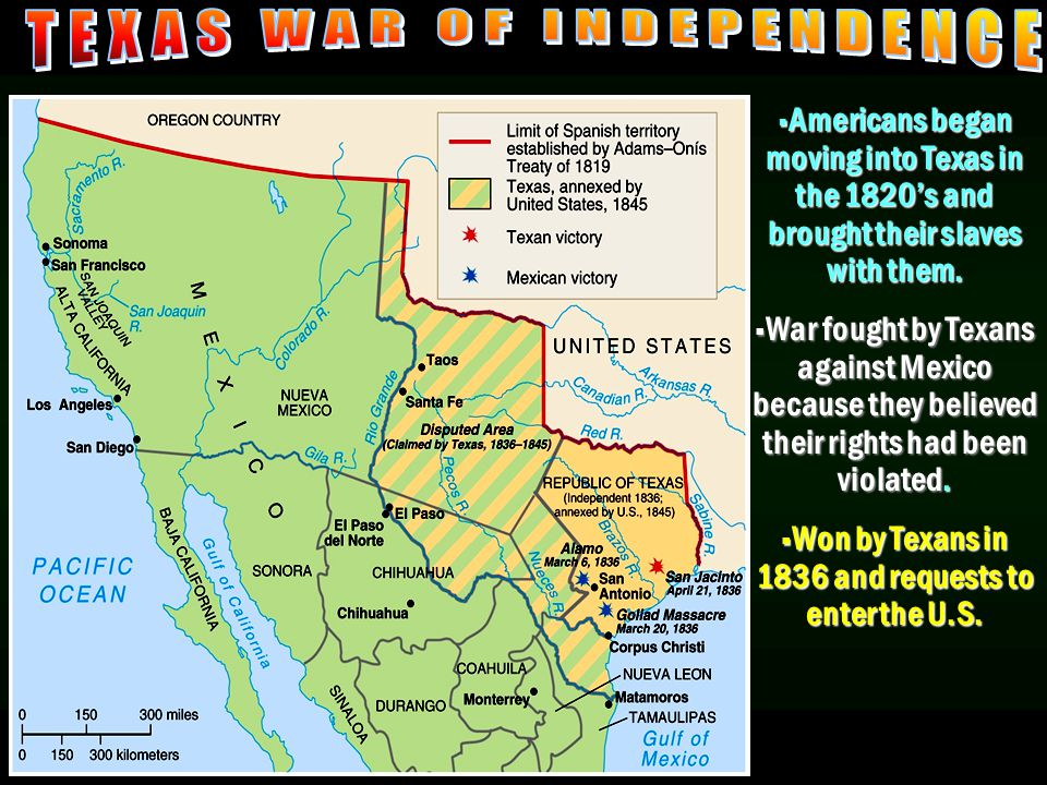 Texas War of Independence  Americans began moving into Texas in the 1820's and brought their slaves with them.