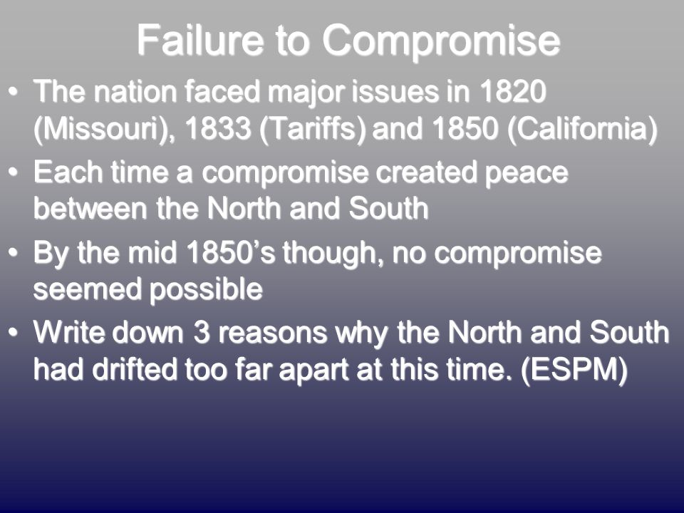 Failure to Compromise The nation faced major issues in 1820 (Missouri), 1833 (Tariffs) and 1850 (California)The nation faced major issues in 1820 (Mis