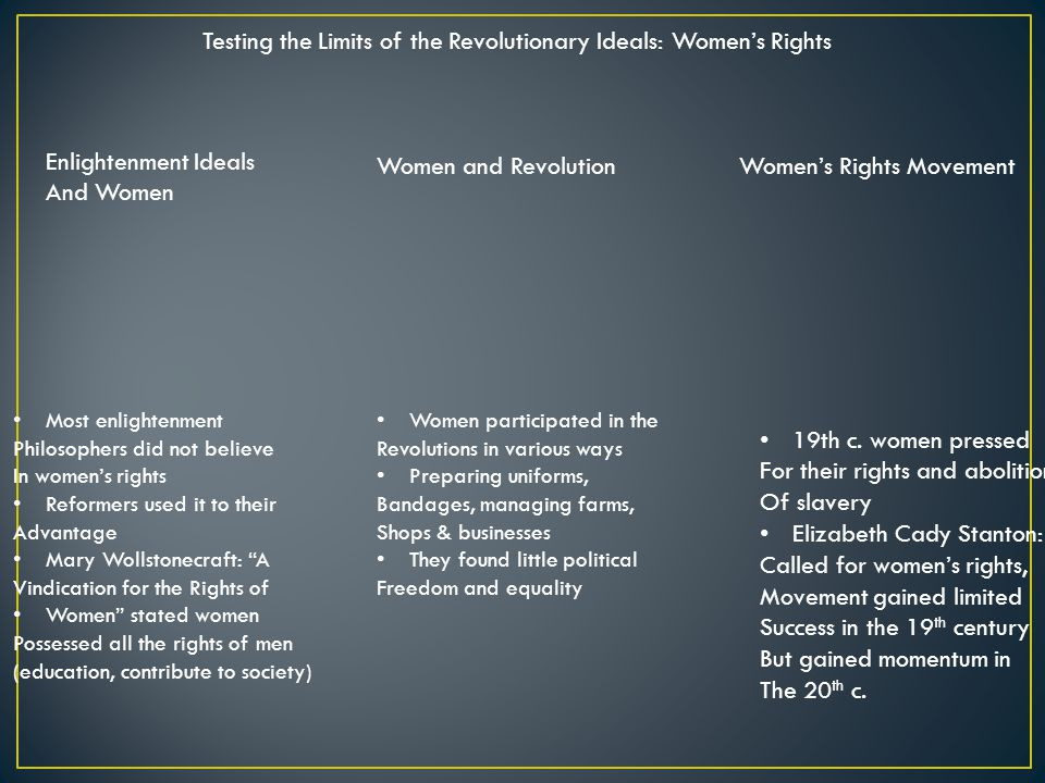 Testing the Limits of the Revolutionary Ideals: Women's Rights Enlightenment Ideals And Women Women and RevolutionWomen's Rights Movement Most enlightenment Philosophers did not believe In women's rights Reformers used it to their Advantage Mary Wollstonecraft: A Vindication for the Rights of Women stated women Possessed all the rights of men (education, contribute to society) Women participated in the Revolutions in various ways Preparing uniforms, Bandages, managing farms, Shops & businesses They found little political Freedom and equality 19th c.