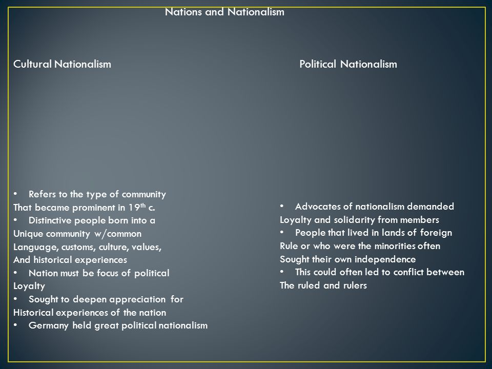 Nations and Nationalism Cultural NationalismPolitical Nationalism Refers to the type of community That became prominent in 19 th c.