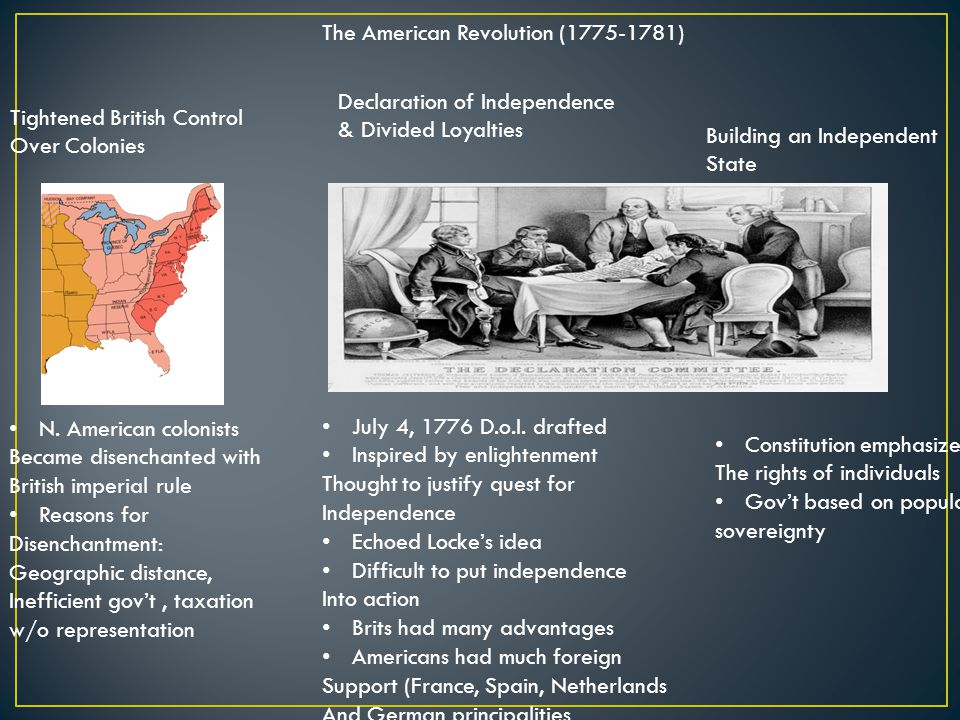 The American Revolution (1775-1781) Tightened British Control Over Colonies Declaration of Independence & Divided Loyalties Building an Independent State N.