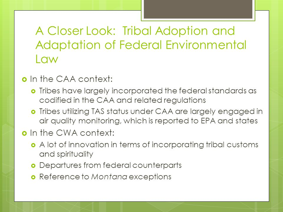A Closer Look: Tribal Adoption and Adaptation of Federal Environmental Law  In the CAA context:  Tribes have largely incorporated the federal standards as codified in the CAA and related regulations  Tribes utilizing TAS status under CAA are largely engaged in air quality monitoring, which is reported to EPA and states  In the CWA context:  A lot of innovation in terms of incorporating tribal customs and spirituality  Departures from federal counterparts  Reference to Montana exceptions