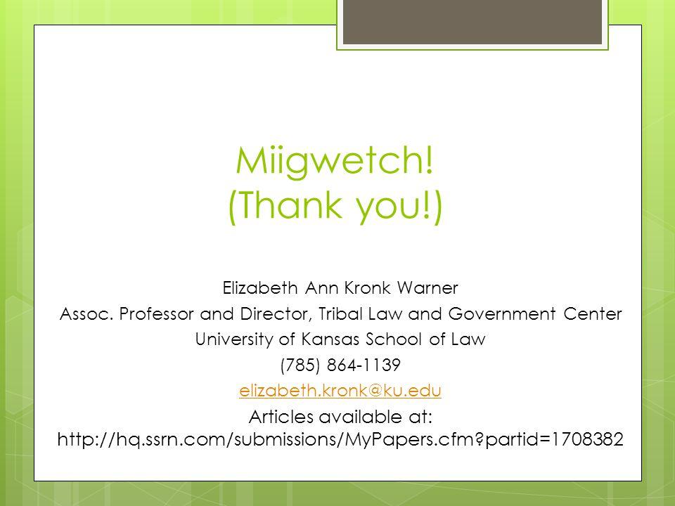 Miigwetch. (Thank you!) Elizabeth Ann Kronk Warner Assoc.