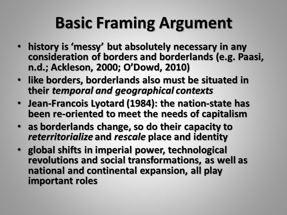 Basic Framing Argument history is 'messy' but absolutely necessary in any consideration of borders and borderlands (e.g.