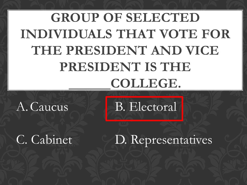 GROUP OF SELECTED INDIVIDUALS THAT VOTE FOR THE PRESIDENT AND VICE PRESIDENT IS THE ______COLLEGE.