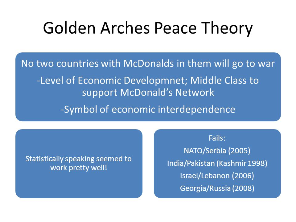 Golden Arches Peace Theory No two countries with McDonalds in them will go to war -Level of Economic Developmnet; Middle Class to support McDonald's N