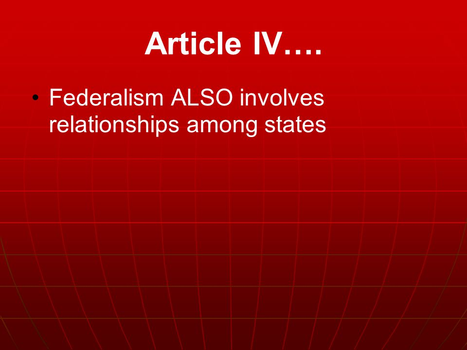 Article IV…. Federalism ALSO involves relationships among states