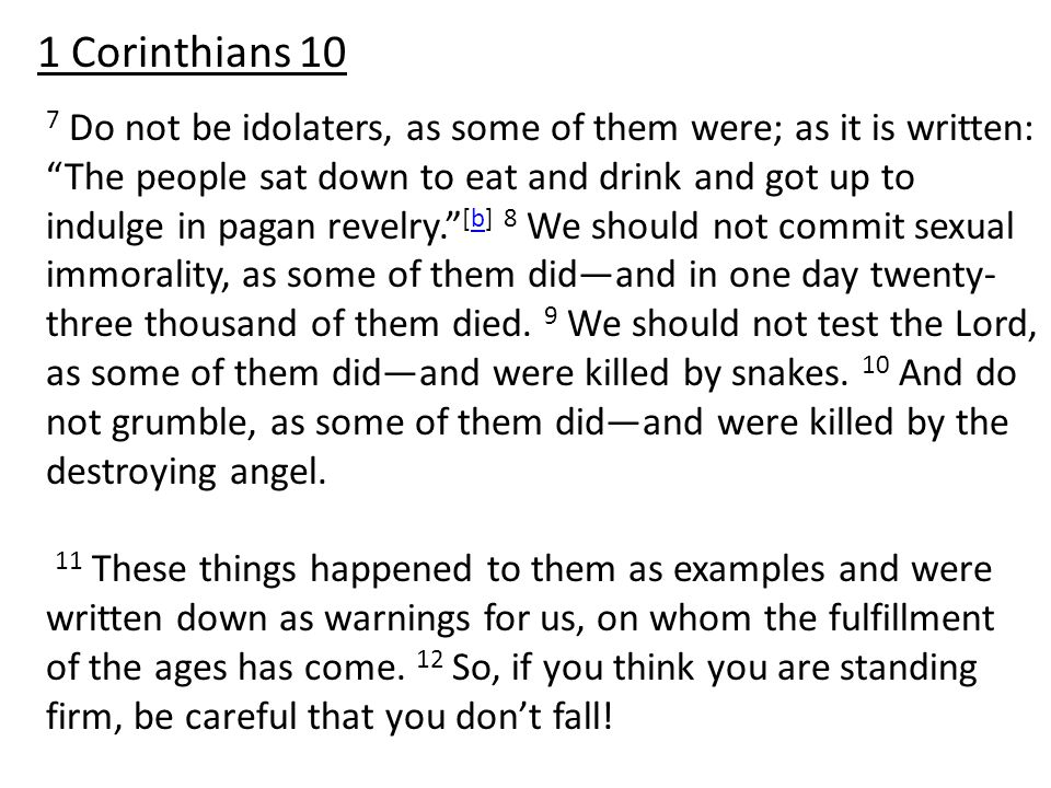 7 Do not be idolaters, as some of them were; as it is written: The people sat down to eat and drink and got up to indulge in pagan revelry. [b] 8 We should not commit sexual immorality, as some of them did—and in one day twenty- three thousand of them died.