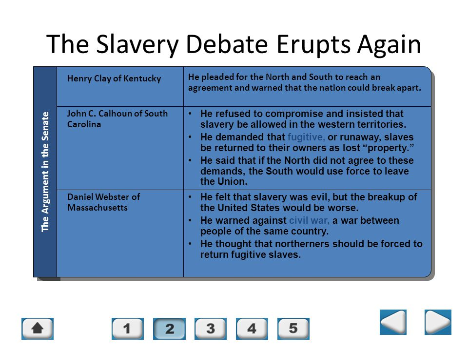 Chapter 16, Section 2 The Slavery Debate Erupts Again Henry Clay of Kentucky He pleaded for the North and South to reach an agreement and warned that