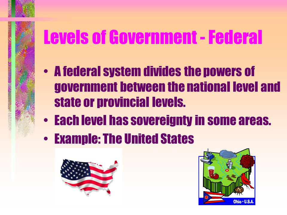 Levels of Government - Federal A federal system divides the powers of government between the national level and state or provincial levels. Each level