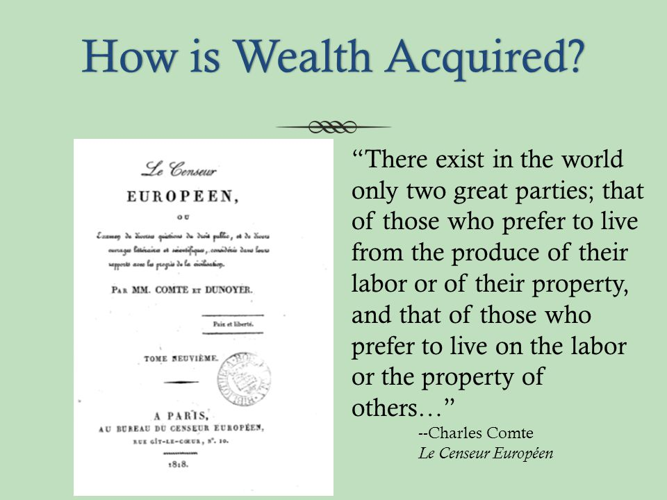 How is Wealth Acquired How is Wealth Acquired.