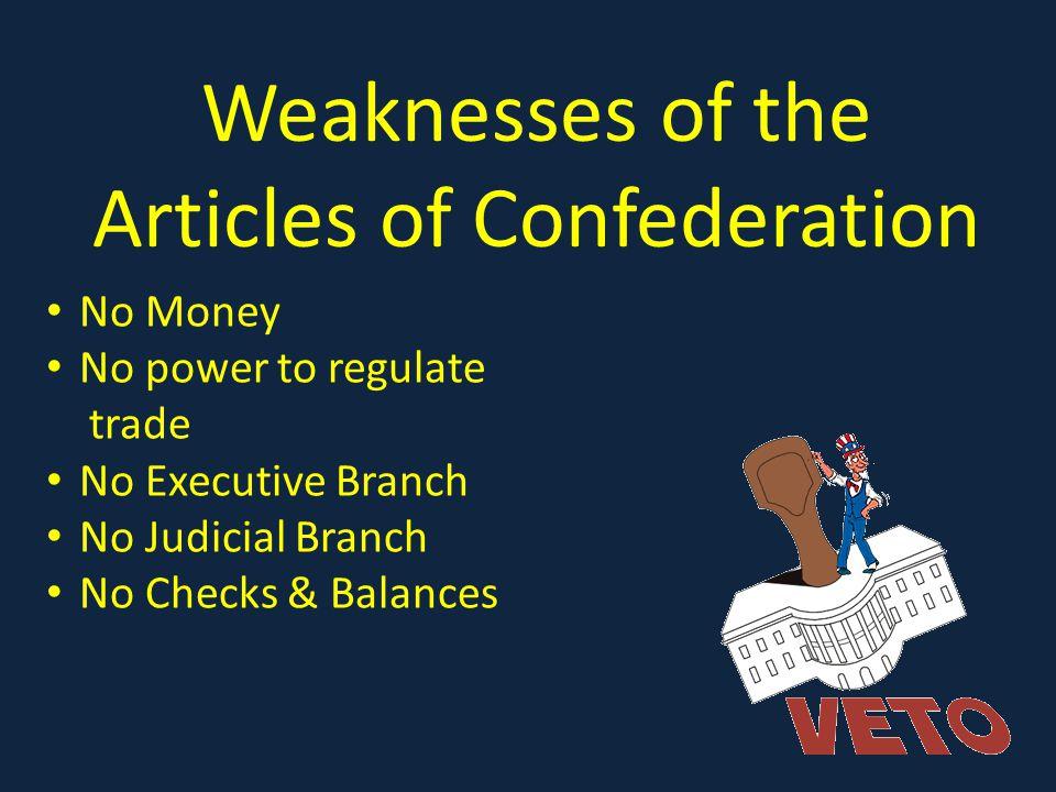 Weaknesses of the Articles of Confederation No Money No power to regulate trade No Executive Branch No Judicial Branch No Checks & Balances