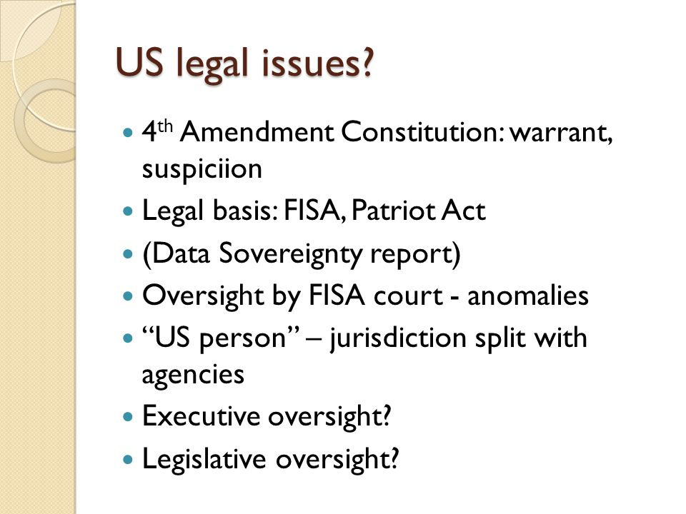 US legal issues.