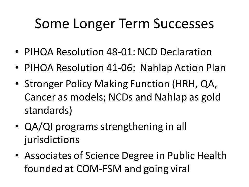 Some Longer Term Successes PIHOA Resolution 48-01: NCD Declaration PIHOA Resolution 41-06: Nahlap Action Plan Stronger Policy Making Function (HRH, QA