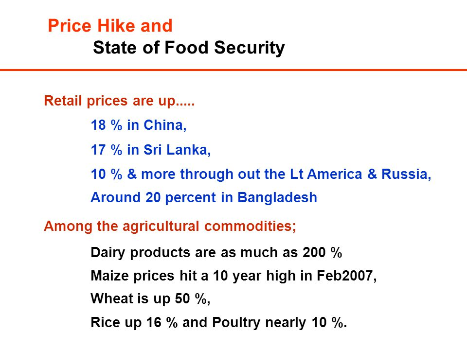 Price Hike and State of Food Security Retail prices are up.....