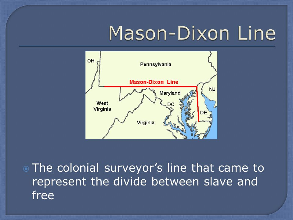  The colonial surveyor's line that came to represent the divide between slave and free
