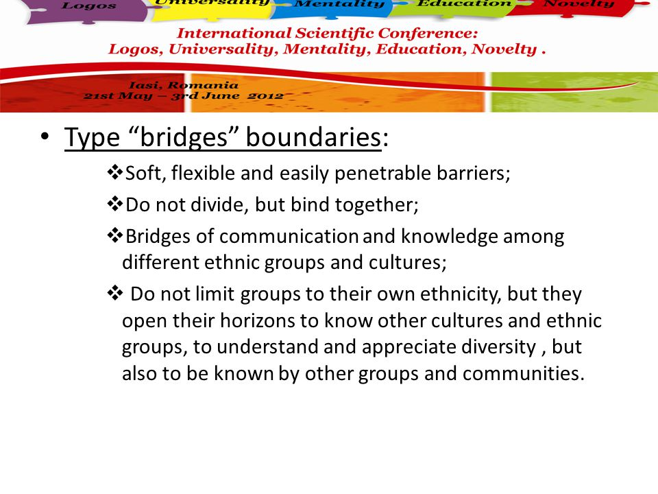Type doors boundaries:  Impenetrable and inflexible barriers;  Separate and isolate ethnic groups;  Lead to an exaggerated focus on their own ethnicity, radicalization of ethnic differences and a profound lack of knowledge and communication among various ethnic groups ;  Emphasize ethnic hatred and rivalry ;  Cause tensions and conflicts among different ethnic groups.